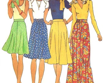 1970s Skirt Pattern 4-gore Uncut Simplicity Vintage Sewing Women's Misses Size 8 Waist 24 Inches