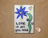 Love Is All You Need in Yellow ACEO Original Watercolor Painting