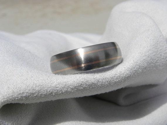 Titanium Ring or Wedding Band Rose Gold Pinstripe Inlays