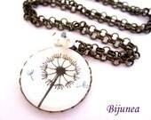 Dandelion necklace -  Black dandelion necklace - Spring dandelion necklace - Wish dandelion necklace - White dandelion necklace n634