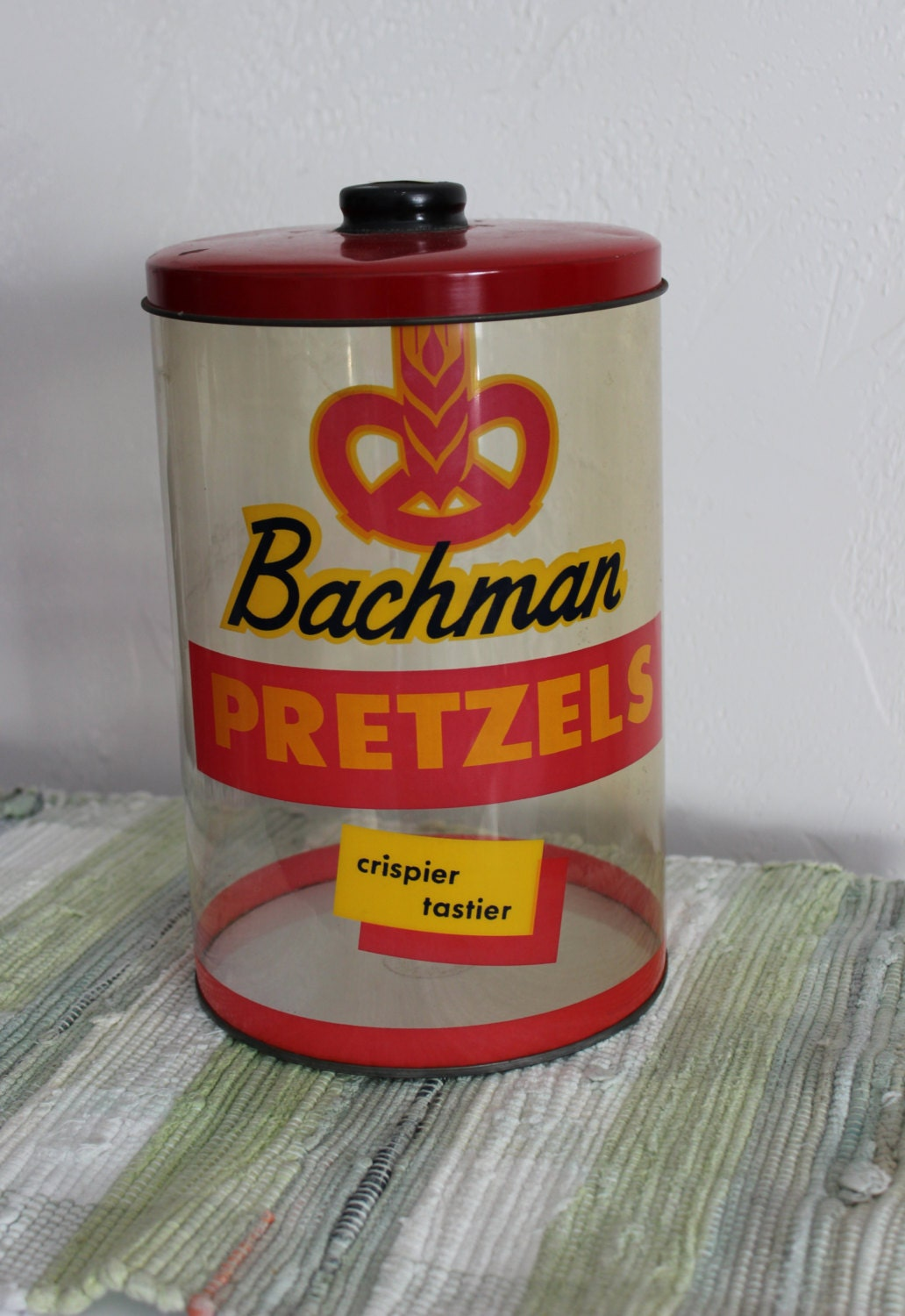 Vintage Bachman Pretzel Store Container Advertising Penny