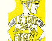 Le Tour De France 2014, 59 x 42cm signed and numbered giclée edition 1 of 25  by Cycling Weekly illustrator Chris Watson