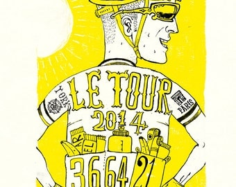 Le Tour De France 2014,  30 x 42 cm signed and numbered giclée edition 3 of 101 by Cycling Weekly illustrator Chris Watson