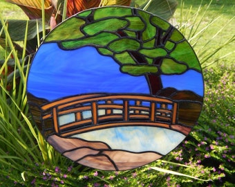 Country Bridge Stained Glass Panel