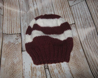 TEAM COLORS!!!  hand knit teen /adult hat  One size fits many!
