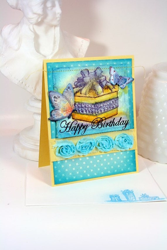 Birthday Card Hand Stamped Watercolored Present Butterflies Robins Egg Blue Glitter Happy Birthday