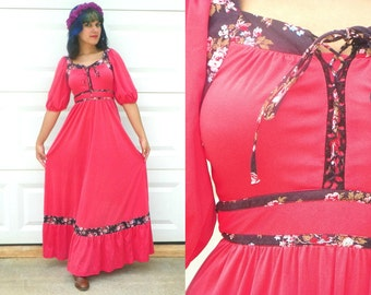 SALE 1970s Vintage Coral Prairie Maxi Dress with Navy Floral Trim Empire Waist Corset Bust Puff Sleeve A Line Skirt Pink Coral Size Small