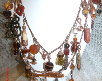 Victorian Romance Copper and Amber Charm Necklace
