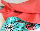 Organic Cotton Fleece Atomic Modern Baby Blanket turquoise and coral