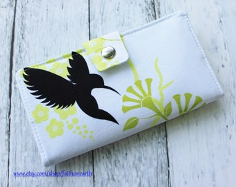 Handmade Long Wallet  BiFold Clutch- Vegan Wallet - Humming Birds