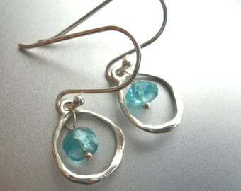 Circle Earrings, Simple earrings, Small Circle Earrings, Aquamarine Earrings, It's Only Natural Aquamarine Earrings, Gemstone Earrings