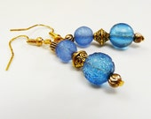 Blue Gold Earrings Antique Gold tone Dangle Earrings with Blue Translucent Glass Bead Earrings