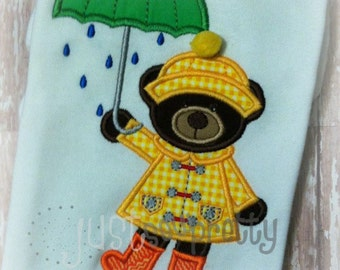 Rainy Bear Spring Embroidery Applique Design