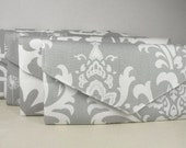 Set of Bridesmaid Clutches- 5 Envelope Purses--Storm Gray and White Collection-Bridesmaid Gift  -- 10% Discount