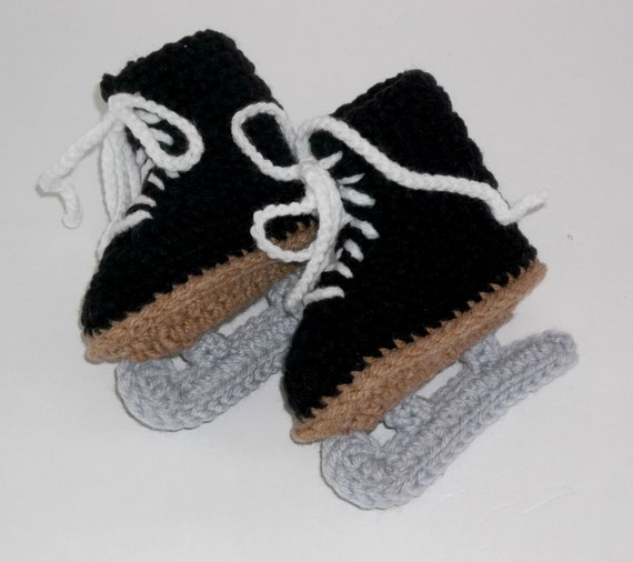 CLEARANCE Baby Booties Crochet Black Skates  3 to 6 months