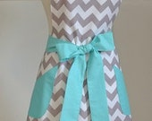 Gray Chevron with Teal Trim Retro Adult Apron - Kitchen Apron - Vintage Apron - Full Apron - Personalized Full Apron - Hostess Gift