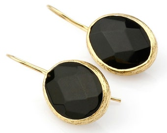 Onyx Oval Earrings with Gold Coated Silver Settings
