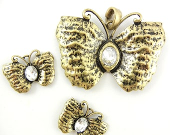 Set of Antique Gold-tone Butterfly Pendant and Charms