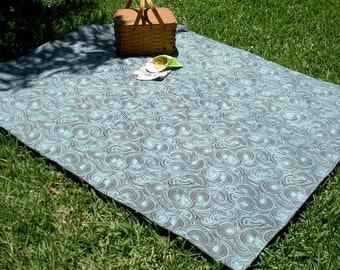 Organic Cotton Picnic Blanket - Outdoor Throw - Eco Friendly - Washable - Brown and Aqua Blue - Swirls Reversible