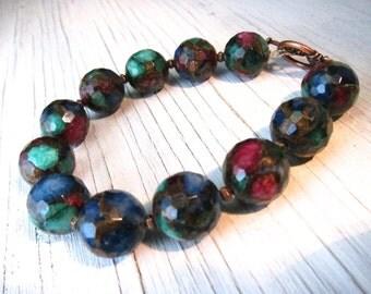 Mosaic Agate Beaded Bracelet, Lapis Ruby Jade