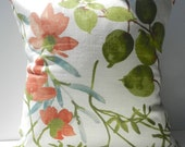 New 18x18 inch Designer Handmade Pillow Case in burnt orange, olive and teal watercolor floral