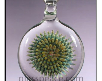 Implosion Blown Glass Pendant glass jewelry lampwork focal bead - Glass Peace (2416)