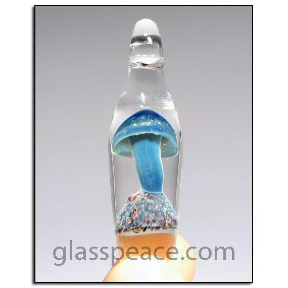 Glass Mushroom Pendant - Boro Lampwork Focal Bead - Hand Blown Glass Jewelry (6324)