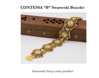 CONTESSA B SuperDuo  pearls and Swarovski beads Beadwork Bracelet tutorial instructions for personal use only
