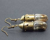 Steampunk Jewelry- Upcycled Brass Burnt Out Light Bulb Earrings, Steampunk Earrings, Lightbulb Earrings, Industrial Jewelry by Tanith Rohe