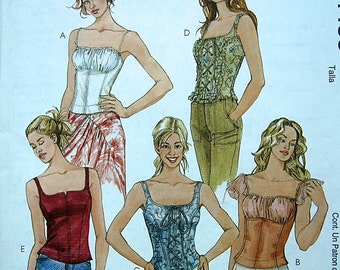 Sewing Pattern McCalls TOP Sizes 12, 14, 16, 18 Close Fitting, Straps, Bust Overlay, Peasant, Lace up, Uncut Factory Folds Casual
