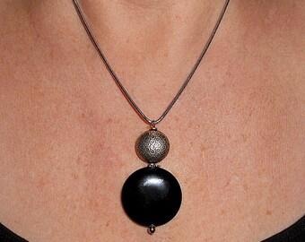 Black onyx pendant, gift, snakechain pendant, black onyx necklace, boho chic necklace, boho chic black jewelry