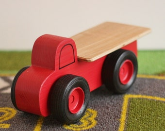 Toy Red Flatbed Truck - Handcrafted Wooden Toy Flatbed Truck - Red
