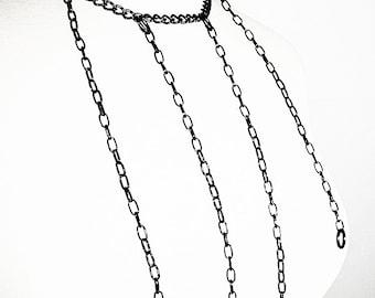 Harness Necklace, Black Metal Necklace, Dominatrix Jewelry, Body Jewelry, Edgy Necklace, Black Body Jewelry, Alternative Jewelry