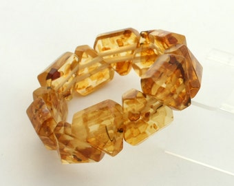 Vintage Art Deco Faux Amber Bracelet Stretch Bracelet Reconstituted Amber Estate Jewelry Elastic Bracelet Imitation Amber Bead Bracelet