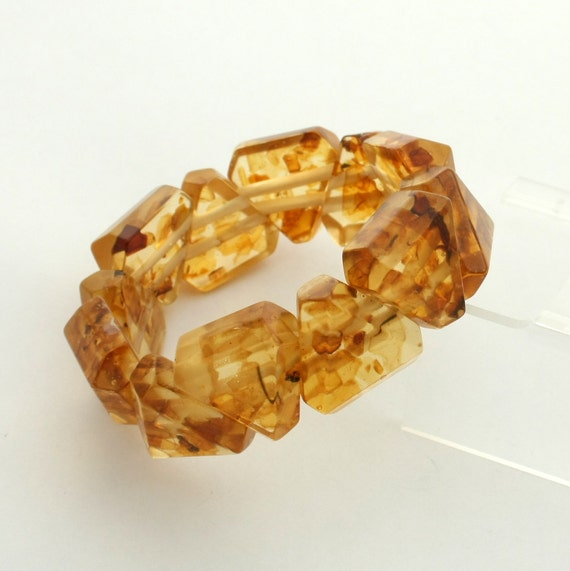 Vintage Art Deco Faux Amber Stretch Bracelet