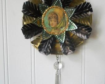 Upcycled  ornament  Regency lady Folk Art Altered vintage brass black green tart tin N23