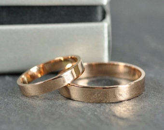 18K Rose Gold Bands 3x1mm and 4x1mm Flat Edge Rings, Customizeable Wedding Bands, Sea Babe Jewelry