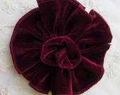 BURGUNDY Velvet Ribbon Rose Fabric Sequin Beaded Flower Applique Hat Corsage Pin Baby Pageant Bridal Hair Accessory Applique