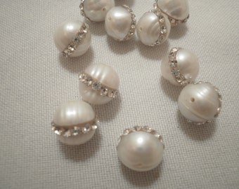 9-10 MM Freshwater Pearls with Crystal Rings