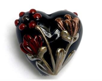 Copper Shadow Heart Focal Bead 11834005 - Handmade Glass Lampwork Beads