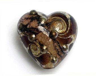 Dark Amethyst w/Silver Foil Heart Focal Bead - Handmade Glass Lampwork Bead 11814005