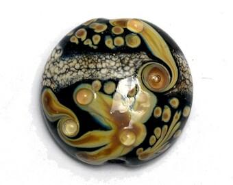 Cheyenne Rock Lentil Focal Bead -11816102- Handmade Glass Lampwork Bead