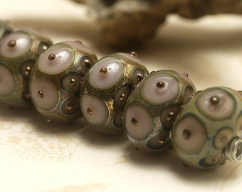Seven Lavender Pink w/Metal Dots Rondelle Beads - Handmade Glass Lampwork Bead Set 10602801