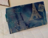 CUSTOM MADE to Order Checkbook Cover Coupon Organizer Eiffel Tower Paris France Blue Purple Silver
