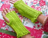 Crochet fingerless gloves - lime green
