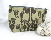 Zipper Bag, Small - Taupe Jewel Ikat