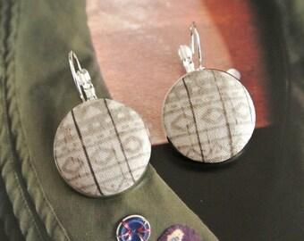 Light Gray Grey White Aztec Tribal Ethnic geometric chevron silver ear earrings hoops clips, CHOOSE STYLE