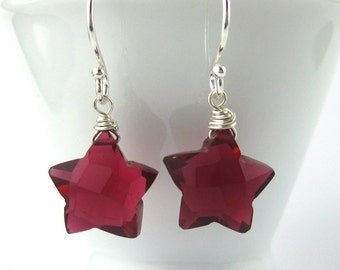 Star Earrings - Gemstone Stars - Red Gemstone Earrings - Silver Star Earrings