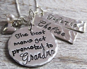 Grandma Necklace - The best moms get promoted - Hand Stamped Jewelry - Personalized Necklace -