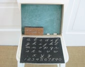 Vintage Child Game Fun with Chalk  Board Antique Nursery Decor Back to School